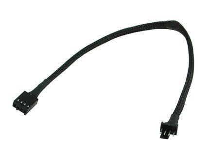 """12"""" PWM 4 pin Extension Cable with Black Sleeving # FC44PWM-12BKS"""