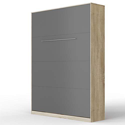 SMARTBett Standard 140x200 Vertikal Eiche Sonoma/Anthrazit Schrankbett   ausklappbares Wandbett, ideal geeignet als Wandklappbett fürs Gästezimmer, Büro, Wohnzimmer, Schlafzimmer
