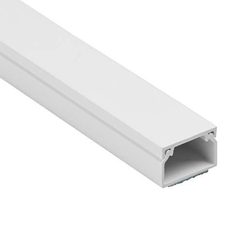 D-Line 1D2516W Canaleta para cables cuadrada, tapacables autoadhesivo, gestión de cableado para ocultar cables - 1 x 25 mm (anch.) x 16 mm (alt.) Longitud de 1 metro - Blanco