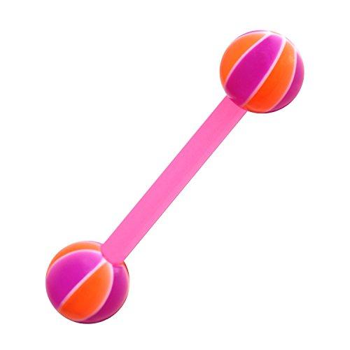 VOTREPIERCING Schmuck Zungenpiercing Bioflex Basket-Ball 2 Rosa/Orange 1.6 x 16 x 6 mm
