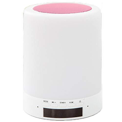 ERGGQAQ Luz Noche Altavoz Bluetooth,Lámpara Noche Sensor Táctil Inteligente Reloj Despertador,Lámpara Noche Cambio Color Regulable,Altavoces Portátiles,Mejores Regalos para Mujeres, Niños,Rosado