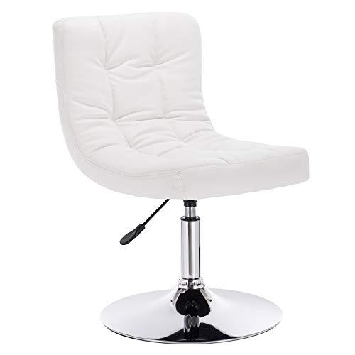 WOLTU® BH119ws-1 1x Barsessel Loungesessel, stufenlose Höhenverstellung, verchromter Stahl, Kunstleder, gut gepolsterte Sitzfläche mit Rücklehne, Weiß