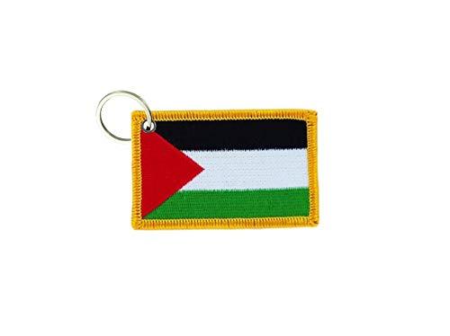 akachafactory Sleutelhanger sleutelhanger geborduurde patch dubbelzijdig vlag palestine palestina
