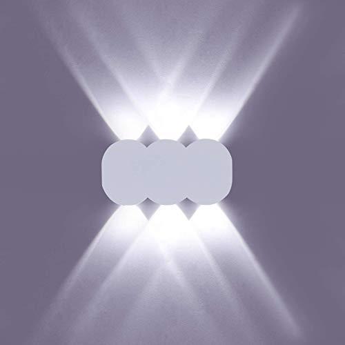 Qucover Led Wandlampe Innen 6W Wandleuchte Up & Down Licht 6000K für Flur Treppenhaus Schlafzimmer Wohnzimmer Moderne Wandbeleuchtung Kaltweiß Flurlampe in Weiß