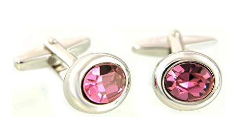 Unbekannt Manschettenknöpfe m. Kristallstein leuchtendes Rose rosa + schwarzer Geschenkbox