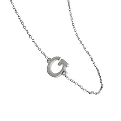 Yowablo Halskette Frauen Alphabet Halskette weiblich einfache Schlüsselbeinkette Anhänger Silber (G)