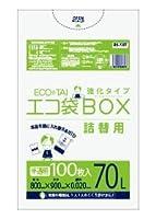 詰替用ゴミ袋 70L ECOTAI ECO 800x900x0.020厚 半透明 100枚 HDPE素材