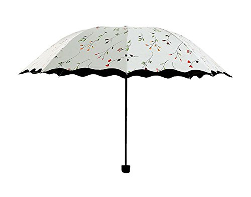 Faltbarer Reise-Regenschirm von Westeng, leichter und windfester Schutz vor UV-Strahlung und Regen, bonbonfarben, weiß, Compact
