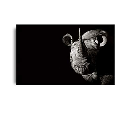 PCCASEWIND Wall Picture Without Frame 50X60Cm- Africa Wild Animals Black White Canvas Paintings Animals Posters Prints Rhino Wall Pictures Living Room Home Decoration