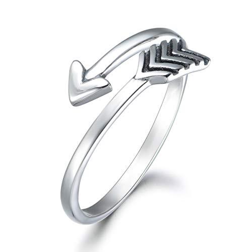 SNORSO - Anillo de flecha de Cupido ajustable para mujeres y hombres, plata de ley abierta Boho apilable para nudillos