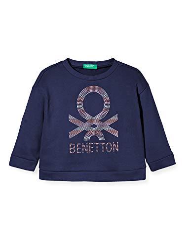 United Colors of Benetton Baby-Mädchen Felpa Kapuzenpullover, Blau (Peacoat 252), 80/86 (Herstellergröße: 1y)