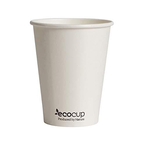 Bicchieri di carta caffè monouso, biodegradabili e compostabili- 12oz/400ml 50pezzi Ecologico cartone FSC, rivestimento in Bioplastica PLA Bianco