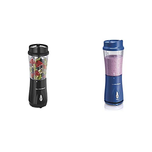 Hamilton Beach Personal Blender for Shakes and Smoothies with 14oz Travel Cup and Lid, Black (51101A & Hamilton Beach Personal Smoothie Blender With 14 Oz Travel Cup And Lid, Blue 51132