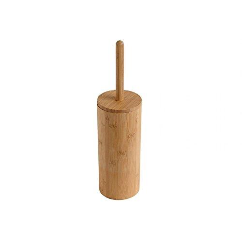 Woodluv - Escobillero y escobilla de inodoro redonda en madera de bambú natural