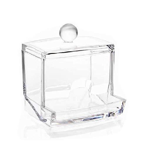 HermosaUKnight Caja de Almacenamiento de hojaldre de algodón Transparente Cuadrado Redondo hisopo de algodón de Escritorio a Prueba de Polvo (TransparentSquare)