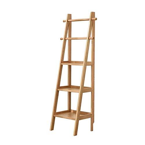 JCNFA planken Trapezoid boekenkast ladder tegen muur opslag plank stap opslag rack woonkamer slaapkamer studie, smal, 2 kleuren 17.71 * 14.96 * 62.99in Wood Color