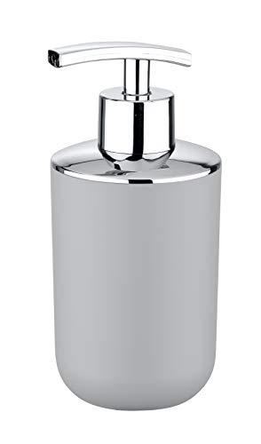 WENKO Seifenspender Brasil Grau - Flüssigseifen-Spender, Spülmittel-Spender Fassungsvermögen: 0.32 l, Kunststoff (TPE), 7.3 x 16.5 x 9 cm, Grau