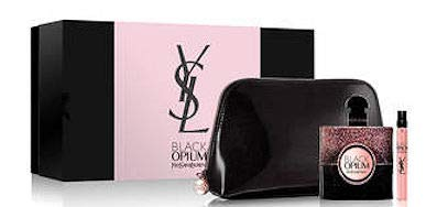 YSL Yves St. Laurent Black Opium Set of 3 Pieces: 1.6 oz EDP Spray, 0.33 oz. EDP Spray and Makeup Bag in Deluxe Box (0.33 Ounce Edp Spray)