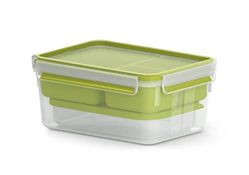 Emsa N1071600 Clip & Go Lunchbox XL (Fassungsvermögen: 2,2 Liter, rechteckig, inkl. 3 Einsätze und extra Behälter) transparent/hellgrün
