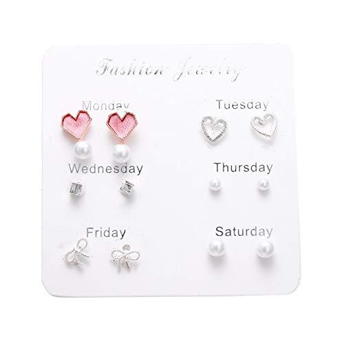 Wonderful Day Conjunto de Pendientes de Mujer Pendientes de Perlas para Mujer Joyería de Moda Bohemia Pendientes de corazón de Cristal geométrico, LNI0997-5