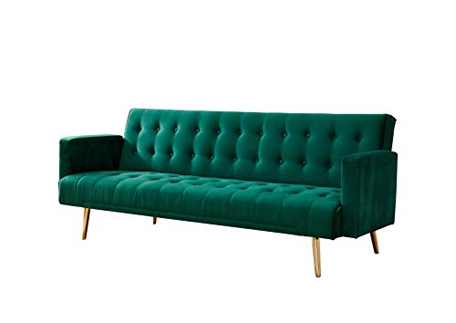 Home Detail Velvet Three Seater Sofa Bed in Grey Pink Blue or Green with Contrast Golden or Rose Gold...