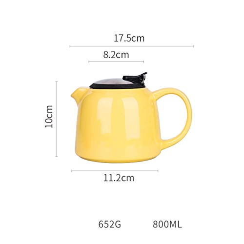 Teiera Nordic Ceramic Teapot Semplice Grande capacità Teiera con Coperchio Home Office Tea Kettle Coffee Pot Rosso Durevole (Color : Yellow)