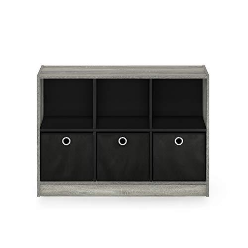 """FURINNO Basic 3x2 Bookcase Storage, 3"""" X 2"""", French Oak Grey/Black,99940GYW/BK"""