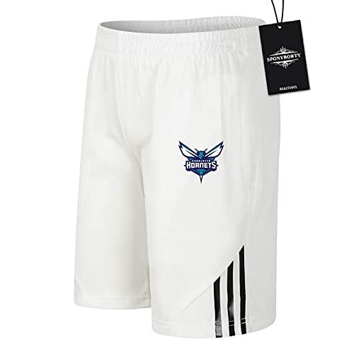 SPONYBORTY de Los Hombres Sudor Corto Verano H.ornets Pantalones Cortos Algodón Corto Baloncesto Trotar Traje Gimnasio/Blanco/M