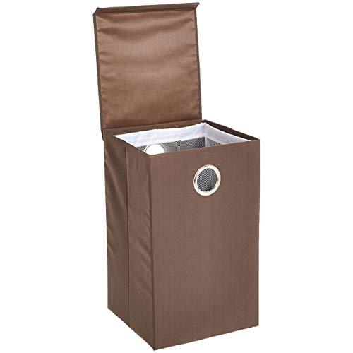 Amazon Basics - Einzelner Wäsche-Sammler mit Magnetverschluss - Braun, 2er-Packung