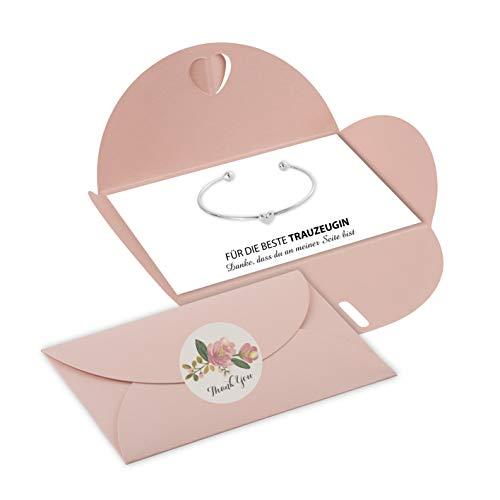 Lillyville - Trauzeugin Geschenk mit Herz Armreif Silber und Karte - Danke, DASS du an meiner Seite bist - Hochzeit Armreif - Umschlag Rosa