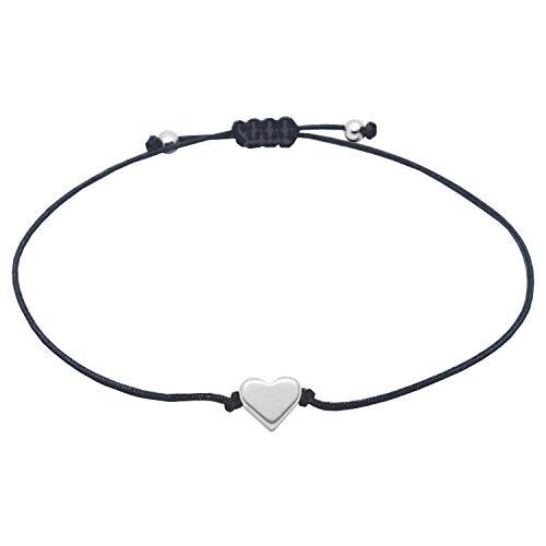 Filigranes Herz Armband Silber - Schwarzes Band mit Silberfarbenem kleinen Herz - Handmade Schmuck Damen Frauen Mädchen Inkl. Geschenkverpackung