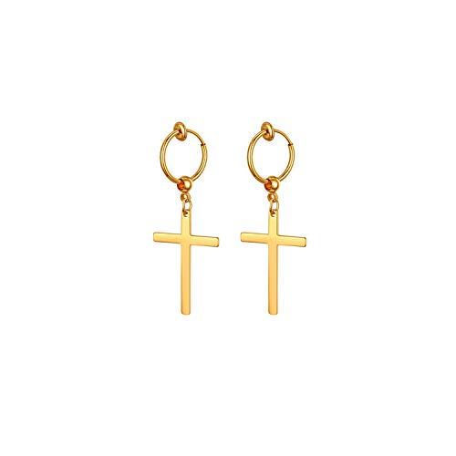 Aroncent Pendientes sin Agujero de Cruz para Mujer Aretes Neutral sin Perforación Elegante de Diseño Moda Sets de Joyería de Acero Inoxidable Color Dorado