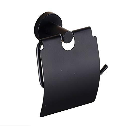 AISHIPING Modern Pure Black toiletrolhouder oud zwart rolhouder papieren rolhouder badkamer plank papier ophangsysteem