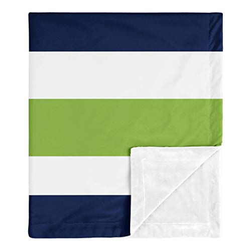 Sweet Jojo Designs Stripe Baby Boy Receiving Security Swaddle Blanket for Newborn or Toddler Nursery Car Seat Stroller Soft Minky - Navy Blue, Lime Green and White