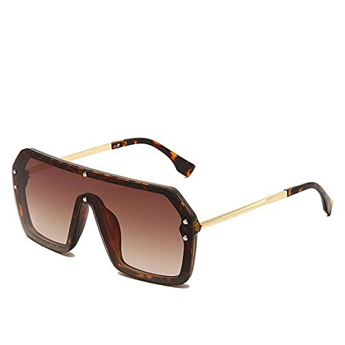 JINZUN Gafas de Sol de Moda, Montura Cuadrada, Gafas de Sol de Moda, Montura Grande, Espejo de sombrilla a Prueba de Viento, Lentes Anti-Ultravioleta, té Degradado de Montura de Carey