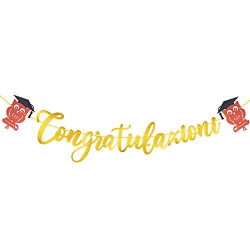 DEOMOR Laurea Striscione Congratulazioni Carta Ghirlanda Bandiera Addobbi Banner Festoni Gufo Decorazioni Festa di Laurea Bomboniere Party Casa (Oro)
