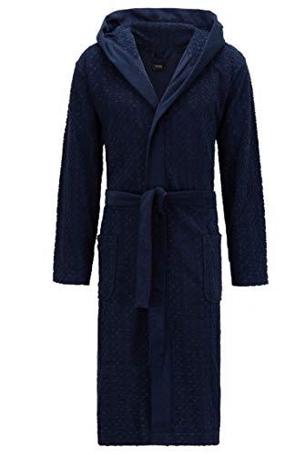BOSS Herren Logo Terry Gown Bademantel, Dark Blue405, XL EU