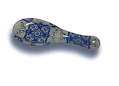 EUROXANTY® Reposa cucharas | Soporte de Vidrio para cucharón | Posa cucharas de diseño mosaicos | para posar Todo Tipo de Utensilios de Cocina | Varios Modelos. (Mosaico Azul)