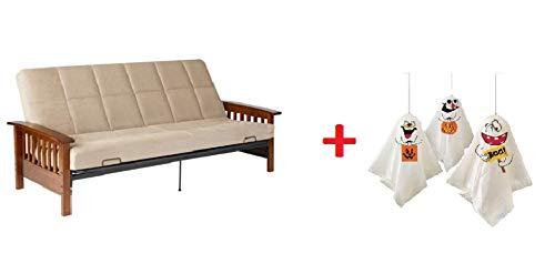 Better Homes & Gardens' Neo Mission Futon, Brown. Solid Wood Arm Futon - Beige + Freebies