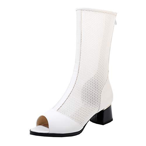 MISSUIT Damen Peeptoe Sommerstiefel Cut Out Sommer Mesh Stiefeletten mit Blockabsatz Reißverschluss Schuhe(Weiß,39)