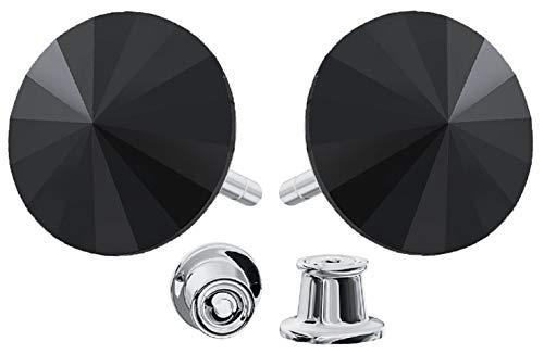 Crystals & Stones * * Rivoli * * 12mm * Jet * 925Argento Orecchini Donna Orecchini con cristalli di Swarovski Elements, ideale come regalo per donna o ragazza Pin/75