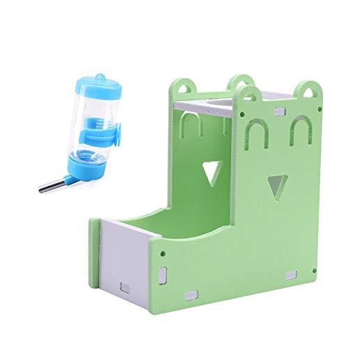 Zongha Kaninchen Trinkflasche Futterautomat Wasserflasche Für Ratten Kaninchen-Zubehör Kleintierfutterautomat Kaninchen-Wasser-Zufuhr Hamster-Futternäpfe Set-Green