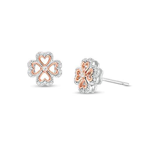 Pendientes de tuerca de trébol de cuatro hojas de corte redondo transparente D/VVS1 de diamante en forma de corazón de 1/10 quilates, en plata de ley 925 chapada en oro rosa de 10 quilates