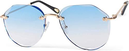Vrouwen piloot zonnebril frameless met getinte lenzen in diamant polijsten, reliëf benen, pentagonale lenzen 09020106 Donutstas