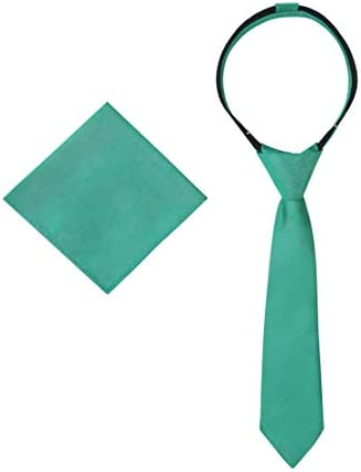 Ties For Boys Necktie Pocket Square Pre Tied Woven Kids Zipper Tie School Uniforms Wedding 11 product image