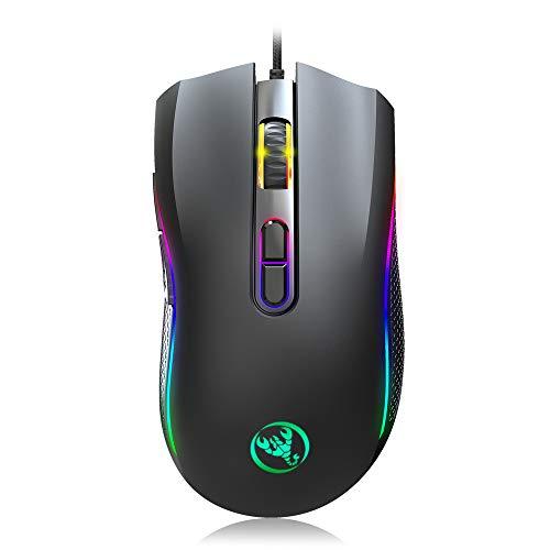 Mouse Gaming - FAGORY Mouse da gaming con cavo, 7 tasti e illuminazione a led con 7 colori, fino a 100 milioni di clic, fattore di forma ergonomico, per PC Mac Laptop, Nero