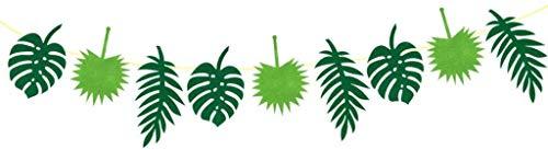 Hawaiianische tropische Blätter Banner Girlande Filz Wimpelkette Banner Dschungel Strand Thema hängende Dekoration Party Wimpelkette Flagge Festival Party Dekoration, grün, 3 Meter