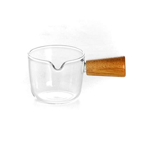 Jarra de Leche Simple estilo de vidrio resistente al calor jarabe jarabe jarabe italiano mini ensalada leche jarra latte taza con mango jam taza cafetería restaurante hotel utensilios jarra Salsera