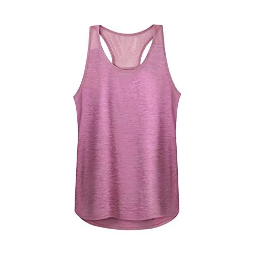 Camisetas sin Mangas de Yoga con Espalda Cruzada de Malla para Mujer Tops para Correr de Gimnasio