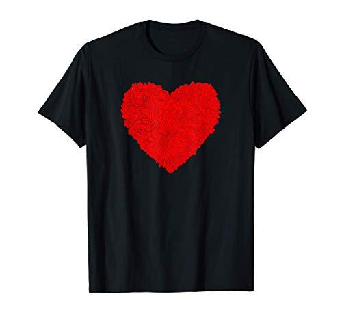 Camisa del día de San Valentín del corazón rojo Flores Camiseta